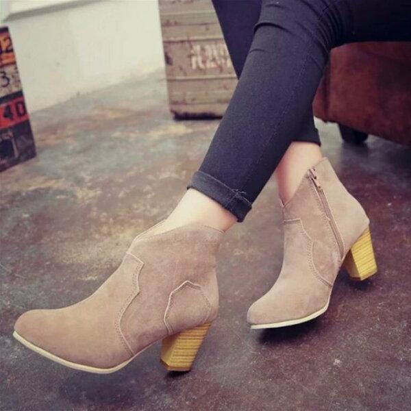 Pyf♥英倫風素面四季百搭圓頭粗跟踝靴拉鍊中跟短靴43大尺碼女鞋