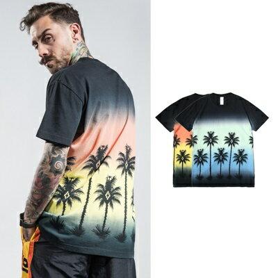短袖T恤休閒上衣-圓領漸層熱帶棕櫚樹男裝2色73qx49【獨家進口】【米蘭精品】