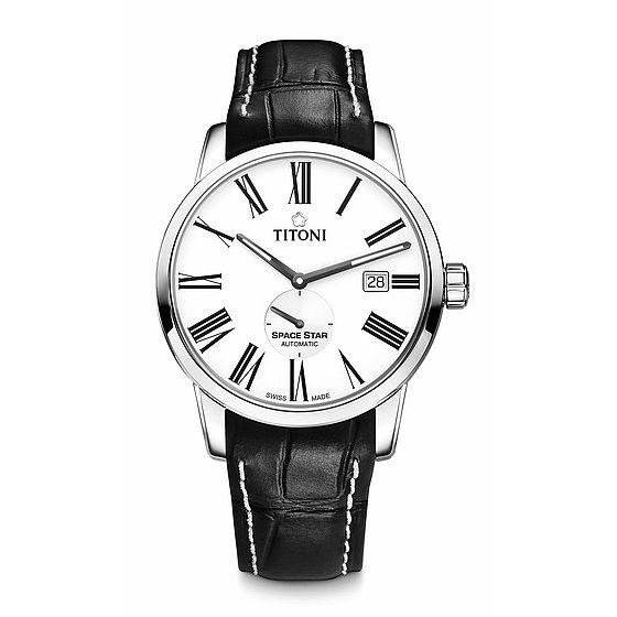 TITONI瑞士梅花錶天星系列83638S-ST-608簡約羅馬經典腕錶白40mm