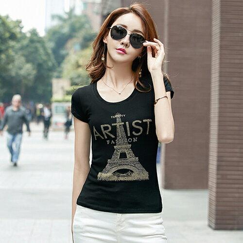 鐵塔圖案印花鑲鑽T恤(2色S~3XL)*ORead* 0