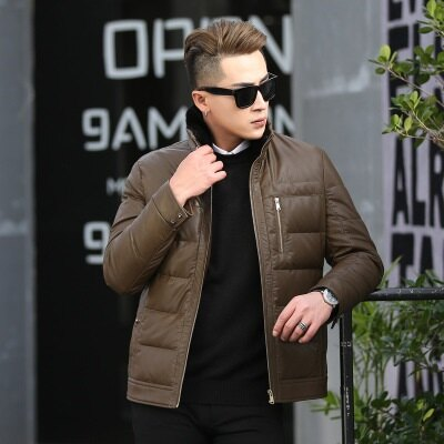 皮衣夾克外套-冬季立領純色休閒男夾克2色73pn26【獨家進口】【米蘭精品】 2