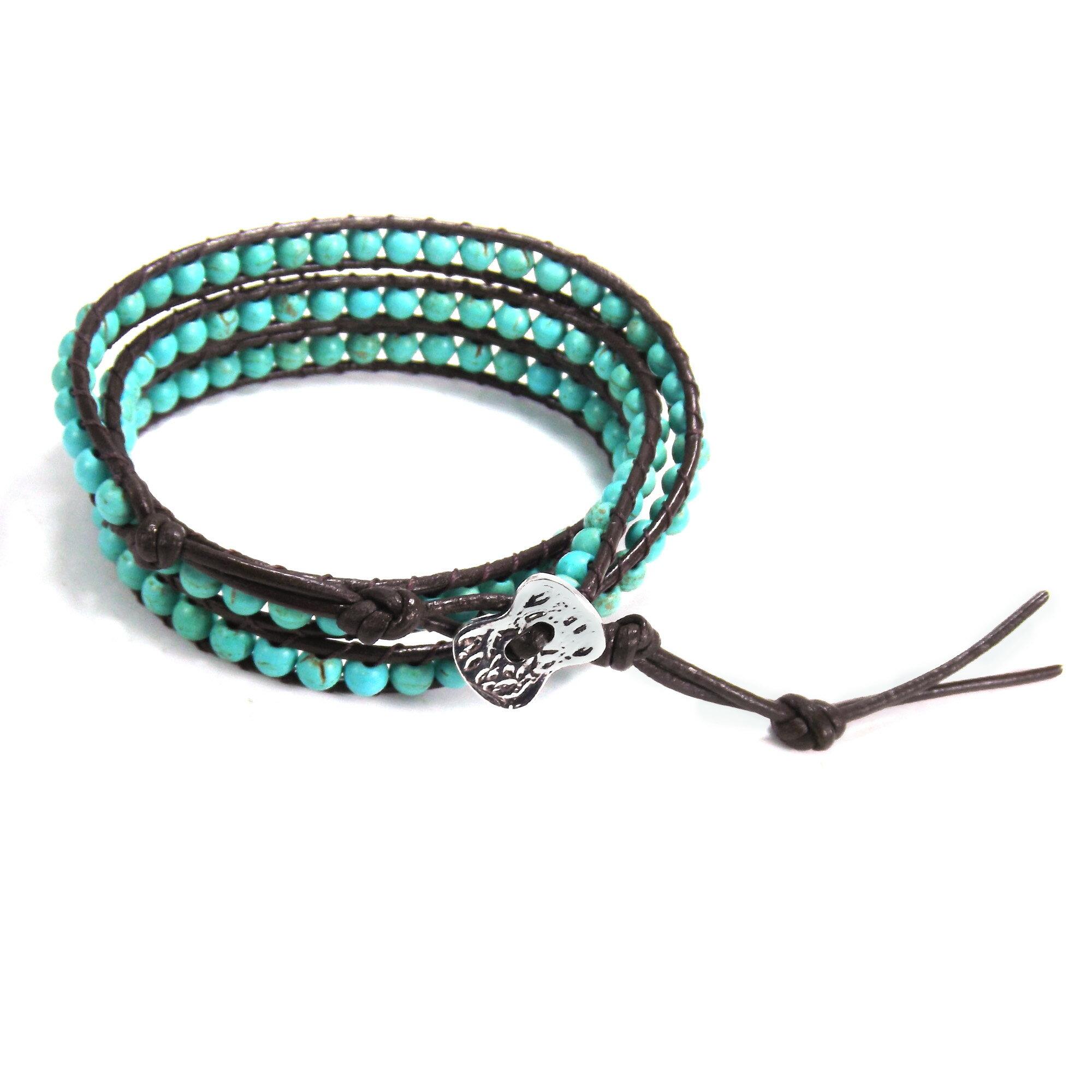 Blue Muse Turquoise Gemstone Tribal Wrap Leather Bracelet (Thailand) 1
