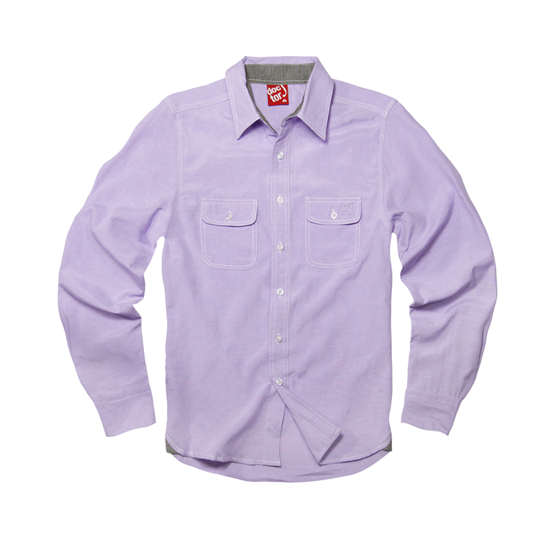 DoctorJ 雙口袋牛津長袖襯衫 紫色 (男/女款皆有)