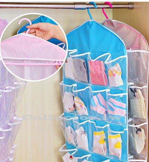 【G16123002】達人收納-透明16格收納袋 衣櫃收納掛袋 多層牆衣櫥門後懸掛式儲物袋