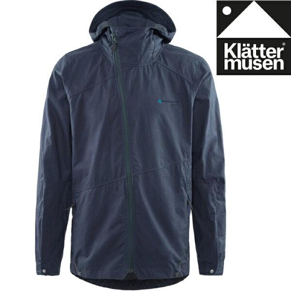 Klattermusen攀山鼠有機棉連帽外套抗風防潑水連帽外套風衣外套Loride男KM10606M風暴藍SB