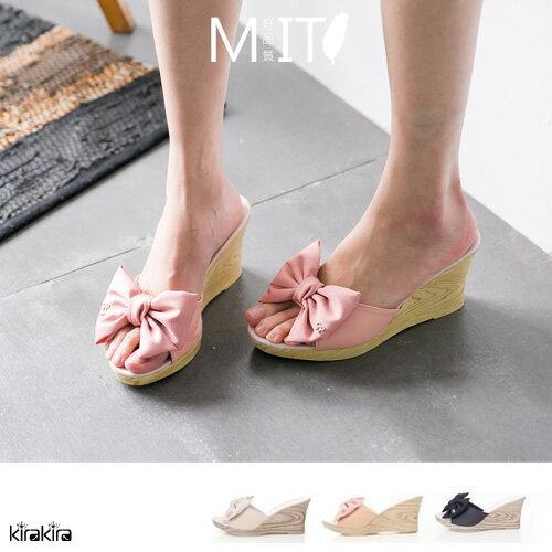 拖鞋  SALE 甜美女孩感蝴蝶結楔型跟鞋-預購