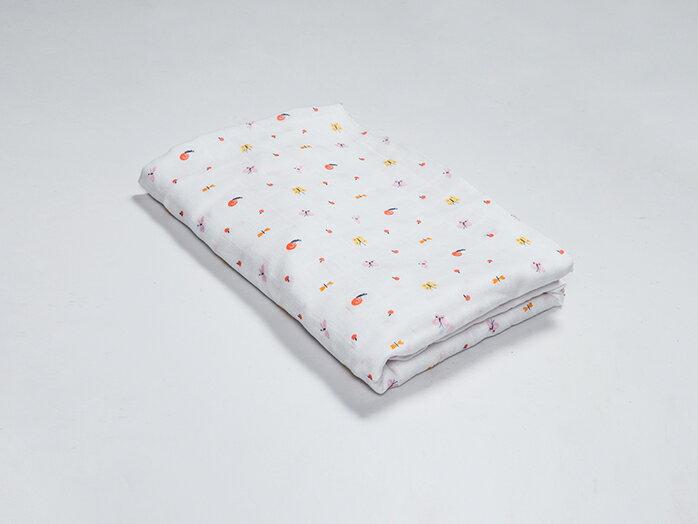 Organic B|有機棉包巾-蝴蝶蜻蜓飛 120x120cm 有機比比 Unicorn