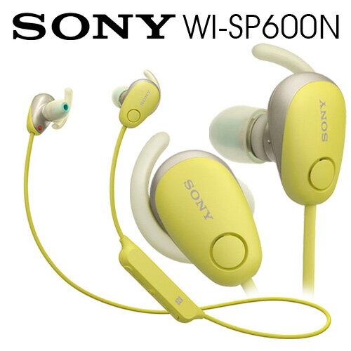 【曜德★送收納盒】SONYWI-SP600N黃無線藍牙降噪運動防水繞頸式耳機續航力6HR★免運★