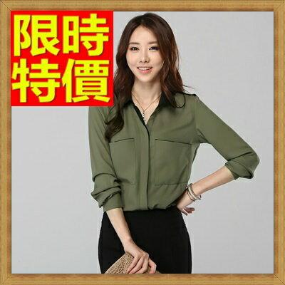☆雪紡衫女長袖襯衫-帥氣寬鬆中性女雪紡襯衫64x6【日本進口】【米蘭精品】