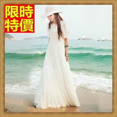 長洋裝 波西米亞連衣裙~純白優雅公主袖蕾絲雪紡連身裙女裙子65af5~ ~~米蘭 ~