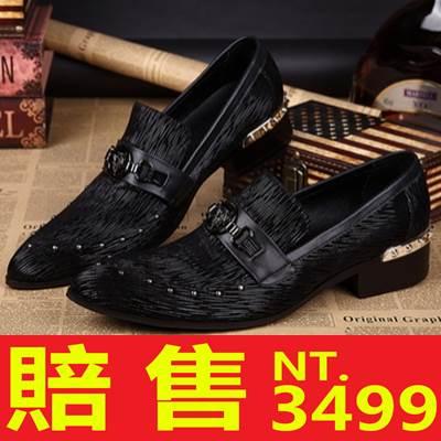 尖頭鞋 真皮皮鞋~重金屬 水鑽低跟男鞋子2色65ai1~ ~~米蘭 ~