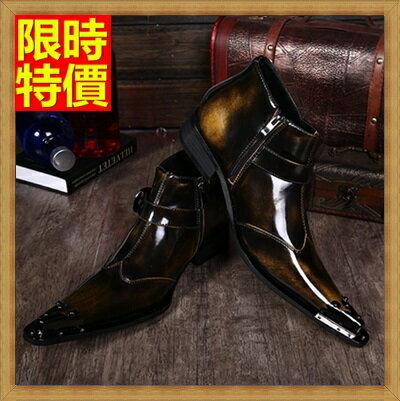 尖頭鞋真皮皮鞋-經典擦色復古休閒低跟男鞋子4色65ai15【獨家進口】【米蘭精品】