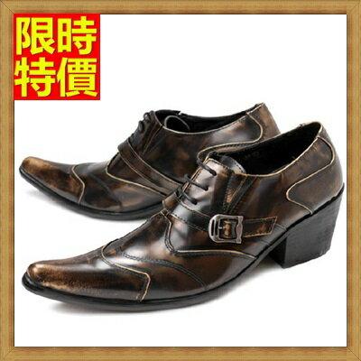 尖頭鞋 真皮皮鞋~復古擦色 商務增高男鞋子2色65ai21~ ~~米蘭 ~