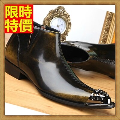 ~尖頭鞋真皮皮鞋~復古擦色鉚釘英倫低跟男鞋子2色65ai41~ ~~米蘭 ~