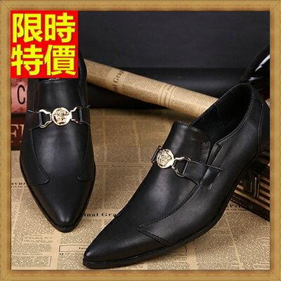 ~尖頭鞋真皮皮鞋~金屬環扣英倫商務 低跟男鞋子65ai5~ ~~米蘭 ~