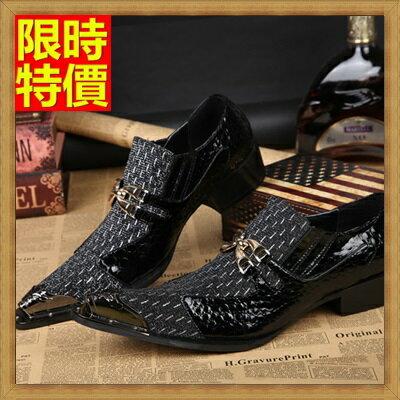 ~尖頭鞋真皮皮鞋~英倫 金屬環扣拼接低跟男鞋子65ai6~ ~~米蘭 ~