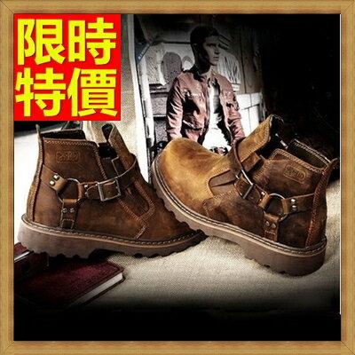 馬丁靴男短筒靴子-時尚圓頭真皮工裝軍靴男鞋子65d3【獨家進口】【米蘭精品】
