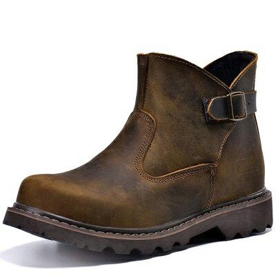 馬丁靴男短筒靴子 ~英倫休閒真皮革工裝軍靴男鞋子1色65d4~ ~~米蘭 ~