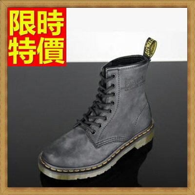 馬丁靴女中筒靴子-木紋8孔復古灰做舊真皮女鞋子1色65d66【獨家進口】【米蘭精品】