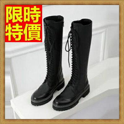 馬丁靴女高筒靴子-圓頭潮靴繫帶真皮女鞋子1色65d78【獨家進口】【米蘭精品】