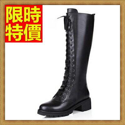 馬丁靴女高筒靴子-英倫風中跟粗跟繫帶真皮女鞋子3色65d84【獨家進口】【米蘭精品】