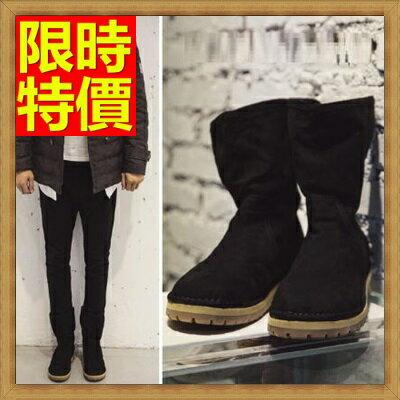 雪靴 男鞋子~復古真皮牛皮加絨保暖中筒男靴子2色65g26~ ~~米蘭 ~