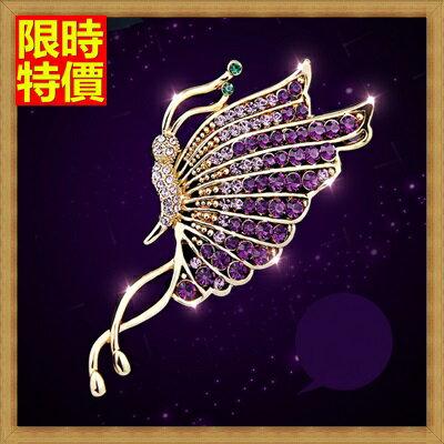 ☆胸針胸章-高檔輕盈紫蝴蝶水晶女別針65q29【獨家進口】【米蘭精品】 0
