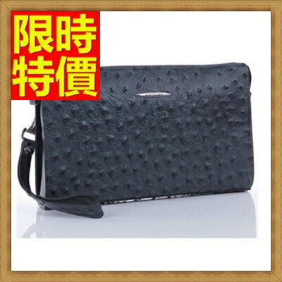 手拿包  錢包-紋理清晰質感強烈鴕鳥紋男皮包65s22【獨家進口】【米蘭精品】