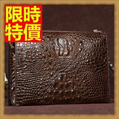 ★手拿包 錢包-貴族風情目光焦點鱷魚紋男皮包4色65s28【獨家進口】【米蘭精品】 0