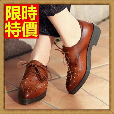 ☆牛津鞋女皮鞋-鉚釘繫帶真皮英倫女鞋子2色65y41【獨家進口】【米蘭精品】