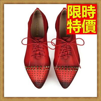 牛津鞋女皮鞋-鉚釘尖頭粗跟真皮英倫女鞋子3色65y44【獨家進口】【米蘭精品】