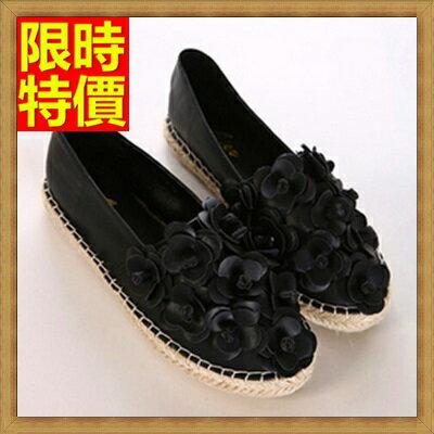 懶人鞋 休閒鞋~優美花朵精緻圓頭女平底鞋3色65z36~ ~~米蘭 ~