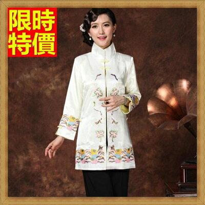 唐裝中式禮服(單上衣)-立領盤扣中長款中國風繡花女裝3色66ac5【上海進口】【米蘭精品】