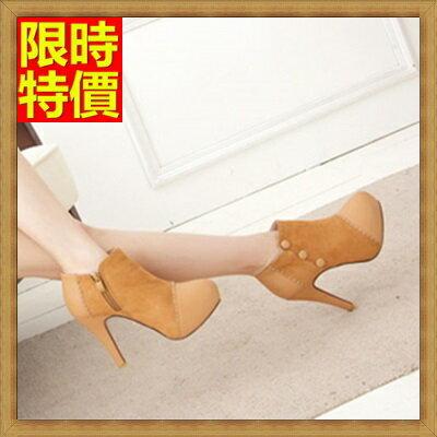 高跟短靴  女靴子-高防水台拼接排扣女高跟鞋子2色66c21【獨家進口】【米蘭精品】