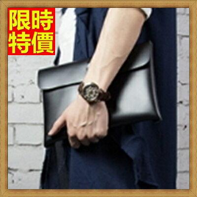 信封包手拿包-設計師原創光面牛皮公事包2色66e16【獨家進口】【米蘭精品】
