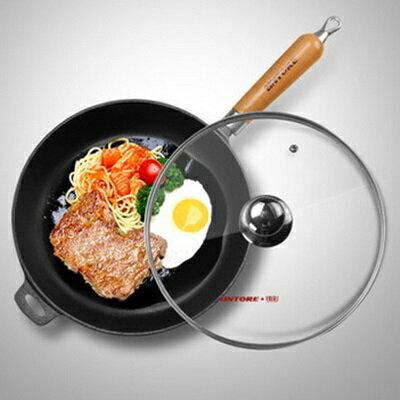 鑄鐵鍋 平底鍋具-加厚煎牛排平底鐵鍋無塗層深煎鍋1色66f5【獨家進口】【米蘭精品】