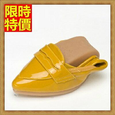 ~女尖頭休閒鞋懶人鞋~舒適吸汗 純色亮面摺疊平底鞋4色66w11~ ~~米蘭 ~