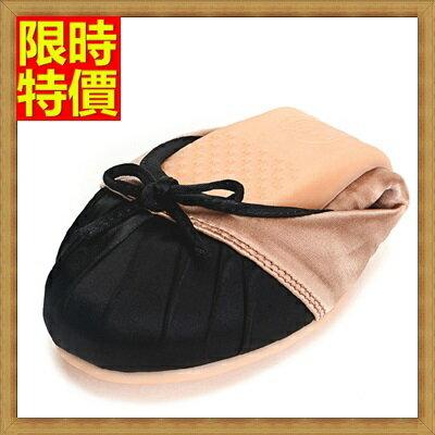 女圓頭休閒鞋懶人鞋 ~精美撞色柔軟舒適別緻摺疊平底鞋2色66w17~ ~~米蘭 ~