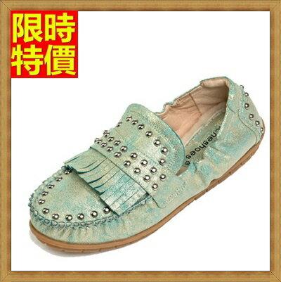 ~女圓頭休閒鞋懶人鞋~復古流蘇金屬鉚釘 摺疊平底鞋3色66w21~ ~~米蘭 ~