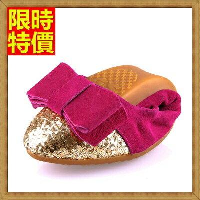 ~女尖頭休閒鞋真皮懶人鞋~ 撞色亮片鞋頭蝴蝶結摺疊平底鞋3色66w38~ ~~米蘭 ~