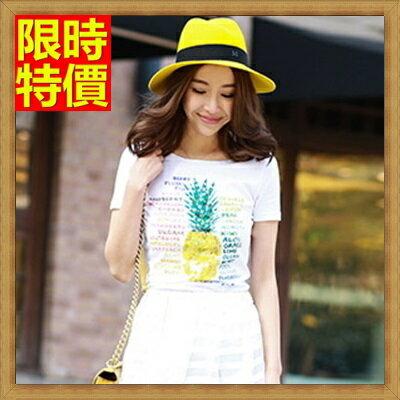短袖T恤 亮片鳳梨~俏麗青春休閒純棉女上衣2色67ab38~ ~~米蘭 ~ ~  好康折扣