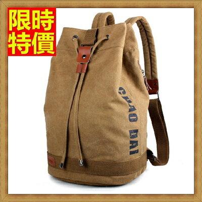 帆布包 後背包~ 雙肩水桶旅行男包包2色67g12~ ~~米蘭 ~ ~  好康折扣