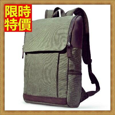~帆布包 後背包~學院風復古雙肩潮流男女包包2色67g38~ ~~米蘭 ~