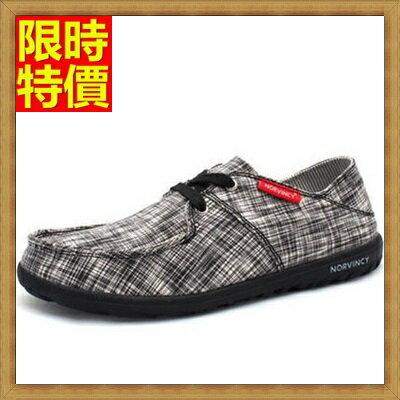 帆布鞋休閒鞋-英倫潮流風夏季新款格紋男帆船鞋3色67l9【獨家進口】【米蘭精品】