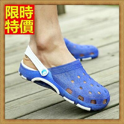 ~洞洞鞋果凍鞋男涼鞋~透氣清爽鱷魚紋沙灘鞋子8色67u14~ ~~米蘭 ~