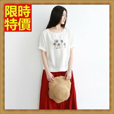短袖T恤 純棉上衣~刺繡森林系蒲公英寬鬆女裝68d29~韓國 ~~米蘭 ~ ~  好康折扣