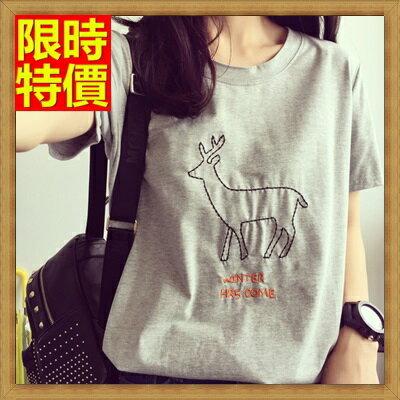 短袖T恤純棉上衣-刺繡小鹿簡約時尚女裝4色68d50【韓國進口】【米蘭精品】
