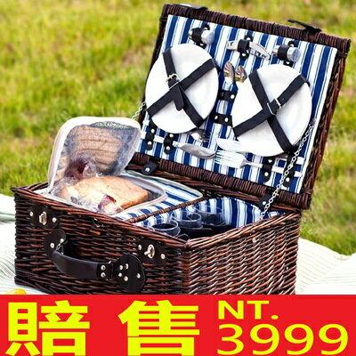 ~野餐籃 編織籃子含餐具 ~保溫外出旅行郊遊用品68e1~ ~~米蘭 ~