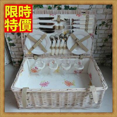 ☆野餐籃編織籃子含餐具組合-四人份戶外活動郊遊用品68e12【獨家進口】【米蘭精品】