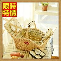 野餐籃打造貴婦風格野餐籃  編織籃子含餐具組合-戶外保溫四人份郊遊用品68e14【獨家進口】【米蘭精品】